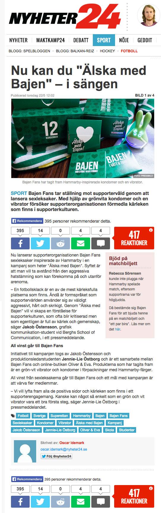 Nyheter 24 - Älska med Bajen